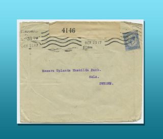 Censor Opened 2 - 1/2 Penny Cover To Sala,  Sweden Posted In 1917. photo