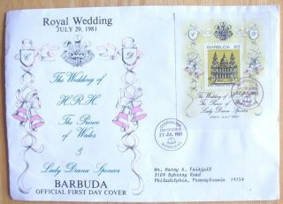 1981 Barbuda First Day Cover Fdc $5.  00 Royal Wedding Prince Wales Lady Diana photo