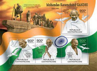 Central Africa - 2012 Mohandas Gandhi - 4 Stamp Sheet - 3h - 334 photo