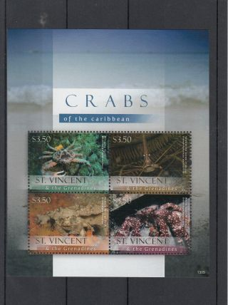 St Vincent & The Grenadines 2013 Crabs Of Caribbean 4v M/s Hermit Crab Clinging photo