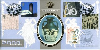 2 May 2000 Art & Craft Benham Blcs 180 Dual Fdc Staffordshire Pottery Shs photo