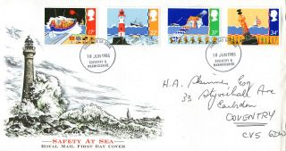 18 June 1985 Safety At Sea Royal Mail First Day Cover Coventry Fdi photo
