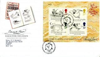 27 September 1988 Edward Lear Miniature Sheet Royal Mail Fdc Bureau Shs (w) photo