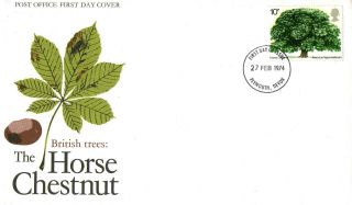 27 February 1974 The Horse Chestnut Tree Po First Day Cover Plymouth Fdi photo