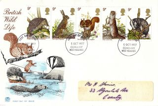 5 October 1977 British Wildlife Stuart First Day Cover Coventry Fdi photo