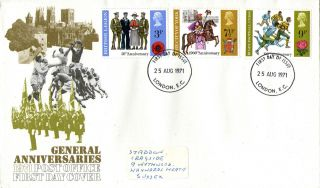 25 August 1971 General Anniversaries Po First Day Cover London Ec Fdi photo