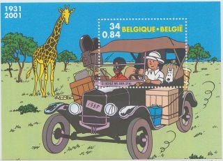Belgium 2001 Tintin In Africa Vintage Car Ziraffe M/s 62630 photo