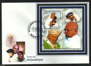 Mozambique 2002 Mahatma Gandhi,  Mother Teresa,  Pope Peace M/s Fdc 62554 photo