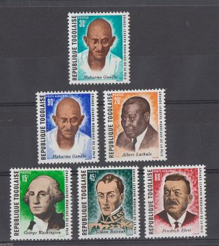 Togolaise Mahatma Gandhi Boliver Washington Luthule 6v 62623 photo