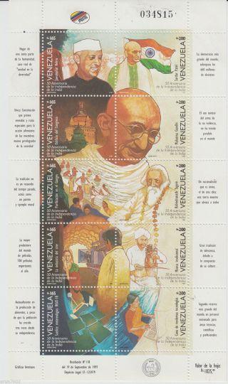 Venezuela 1997 Mahatma Gandhi Tagore 10v S/s 62626 S photo