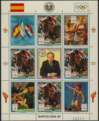 Paraguay 2307 Sheet Olympics,  Equestrian,  Horse,  Flags photo