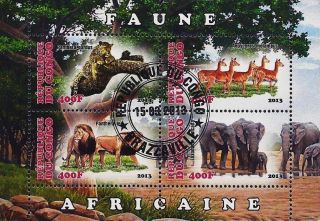 2013 Republic Of Congo Postage Mini - Sheet Of 4 Wild African Animals 1 Of 2 Cto photo