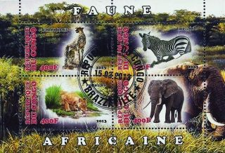 2013 Republic Of Congo Postage Mini - Sheet Of 4 Wild African Animals 2 Of 2 Cto photo