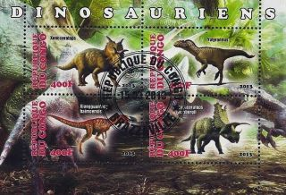 2013 Republic Of Congo Postage Mini - Sheet Dinosaurs Xenoceratops Yutyrannus Cto photo