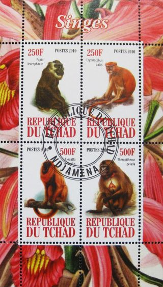 2010 Chad Postage Mini - Sheet Of 4 Apes Primates Monkeys Wild Animals Nature Cto photo