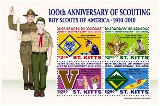 St Kitts - Scouting 100th Anniversary - 4 Stamp Sheet - Stk1007 photo
