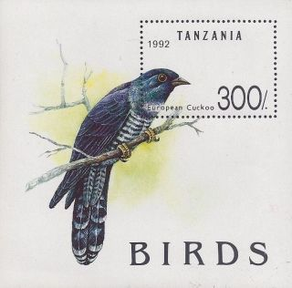 1992 Tanzania Souvenir Sheet Blue European Cuckoo Bird photo