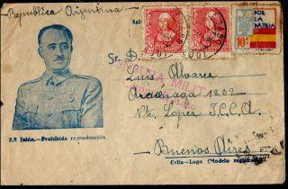 1938 Spain EspaÑa Postal Censorship Campo De Caso El Caudillo Printed Cover photo