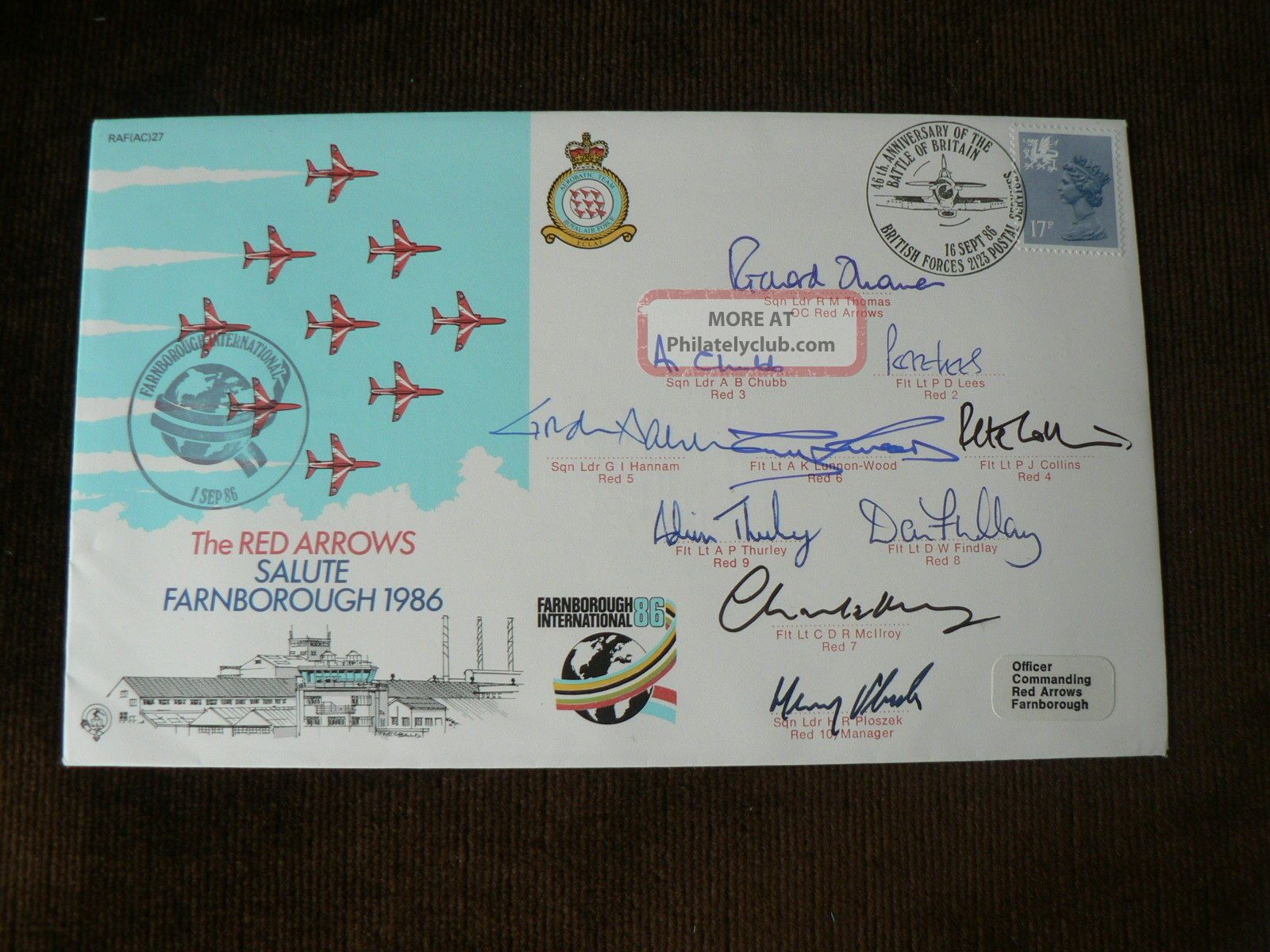 1986 Signed Cover: Red Arrows,  Farnborough 1986,  Signed By Red Arrows,  Raf Transportation photo