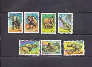 Tanzania 1991 Elephants Scott 792 - 98 Cancelled photo