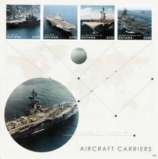Guyana 2013 Aircraft Carriers 4v M/s Ships Ex - Varyag Foch Uss Yorktown photo