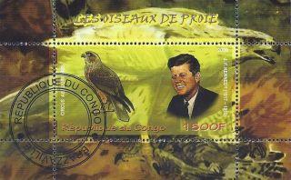 2009 Congo Souvenir Sheet Us President Kennedy Bird Falcon Hawk Cto photo