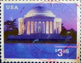 2002 Us 3647 Some Damage Jefferson Memorial Priority Mail Architecture Art photo