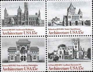 1980 Us 1838 - 41 Block Of 4 American Archtecture Art Buildings Historic Site photo