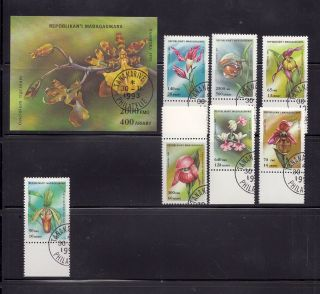 Madagascar (malagasy) 1993 Orchids Scott 1272 - 79 Cancelled photo