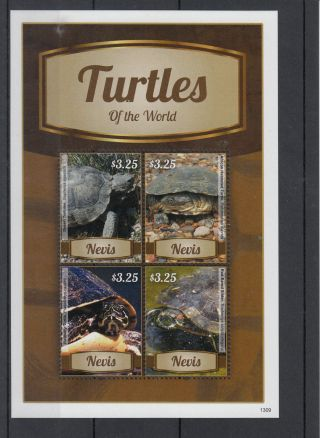 Nevis 2013 Turtles Of The World 4v M/s Reptiles Desert Tortoise Redbelly photo