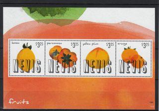 Nevis 2013 Fruits 1v S/s Nature Flowers Plants Lemon Persimmon Plum Orange photo