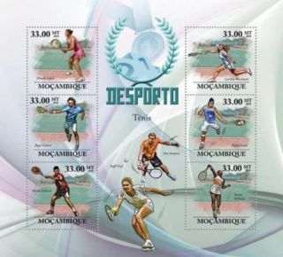 Mozambique - Tennis Pros Federer,  Safina - 6 Stamp Sheet 13a - 440 photo