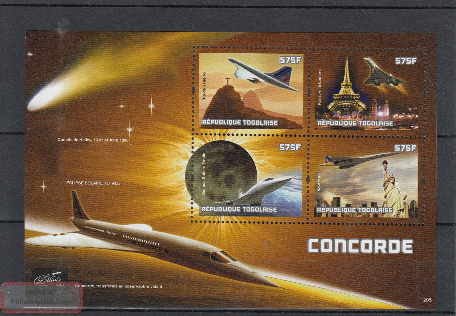Togo 2012 Concorde 4v M/s Aviation Planes Eclipse Sun Halley ' S Comet Transportation photo