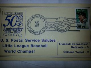Fancy Cancel 50th Anniversary Little League Trumbull Ct Champs Vs Chinese Taipei photo