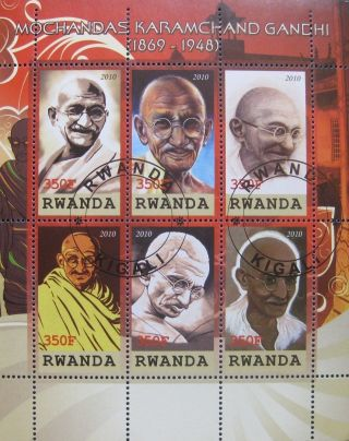 2010 Rwanda Mini Sheet Of 6 Mahatma Gandhi Revolutionary Leader India Cto photo