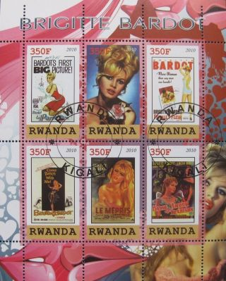 2010 Rwanda Mini - Sheet Of 6 Brigitte Bardot French Actress Famous People Art Cto photo