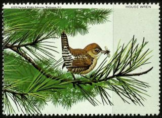 National Wildlife Federation Stamp,  Year 1970,  House Wren, photo