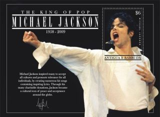 Michael Jackson Collectible Postage Stamp Antigua 3044 photo