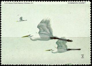 National Wildlife Federation Stamp,  Year 1970,  Common Egret, photo