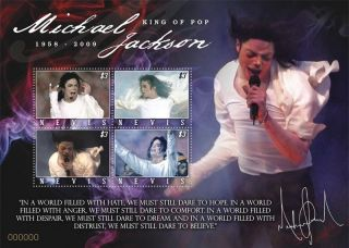 Michael Jackson Collectible Postage Stamp Nevis Nev0918sh photo