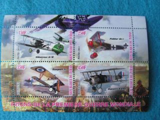 2011 Souvenir Stamp Sheet Of Wwi Military Bi Wing Airplanes Chad, photo