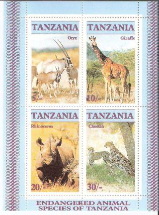 Tanzania 1986 Endangered Wildlife S/s (sc 322a) photo