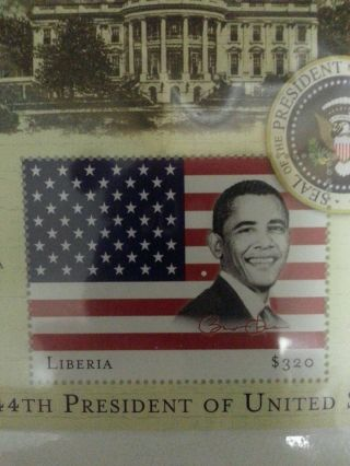 Barrack Obama Liberia Stamp photo