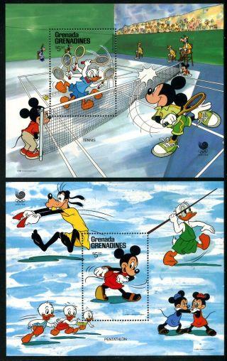 Grenada Grenadines 947 - 948 Disney Characters Mickey Mouse Olympics 1988.  X10285 photo
