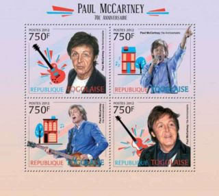 Togo - Beatle Paul Mccartney,  70th Birthday - 4 Stamp Sheet - 20h - 450 photo