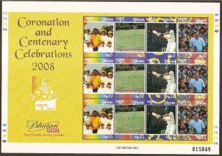 Bhutan 2008 Cricket Coronation & Centenary Celebrations Sheet Of 12v photo