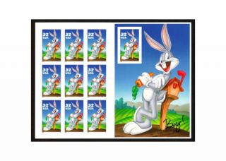 Bugs Bunny Us Sc 3137,  1997 U S Stamp Sheet Of 10 - 32 Cents photo