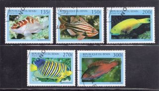 Benin 1997 Tropical Fish Scott 1047 - 51 Cancelled photo
