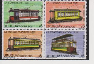 Uruguay Historic Trams Block Of 4 Scott 1725 photo