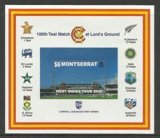 Montserrat 2000 Lord ' S Cricket 100th Centenary Test Match Souv Sheet photo